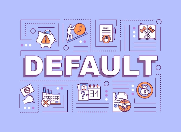 Default word concepts banner. financial emergency, debt repayment failure. infographics with linear icons on purple background. isolated typography. vector outline rgb color illustration