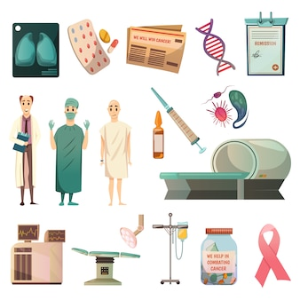 Defeat cancer orthogonal icons set