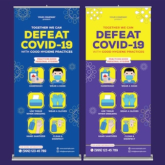 Defeat covid19 roll up banner print template in flat design style