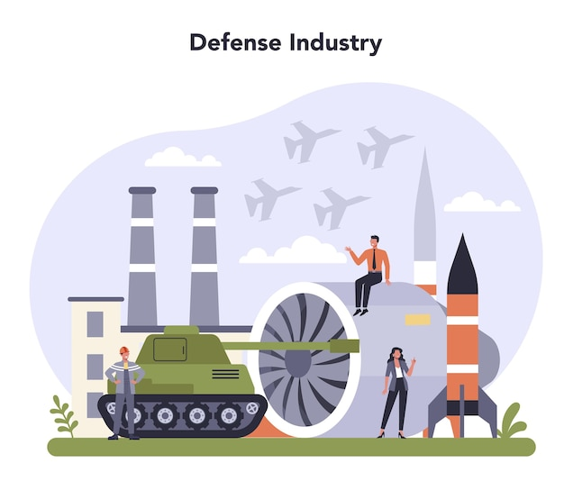 Defence industry set. millitary production and technology.