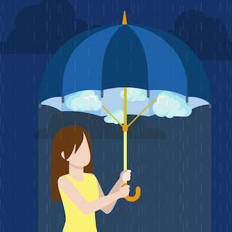 문제 개념에 대한 방어를 방어하십시오. 흐린 하늘 아래 brunet 젊은 여자. 파란색 어두운 배경에 평면 스타일 그림 안에 따뜻한 햇살 밖에 우산 비오는 날씨 아래 소녀.