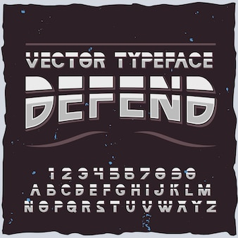Defend typeface on dark alphabet with isolated futuristic font elements letters and digits