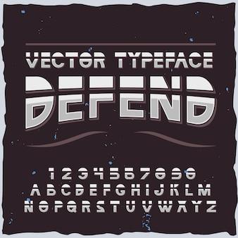 Difendi il carattere tipografico sull'alfabeto scuro con lettere e cifre di elementi di carattere futuristico isolati