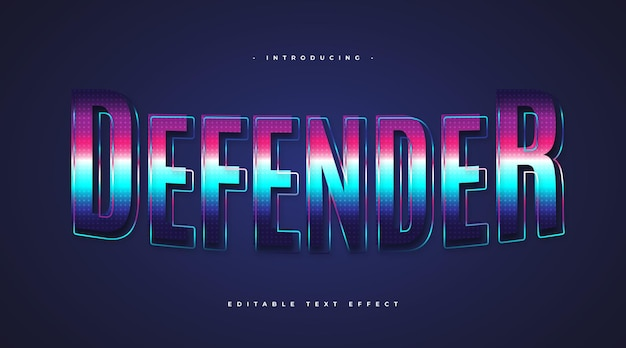 Defender text in colorful retro style with sparkling effect