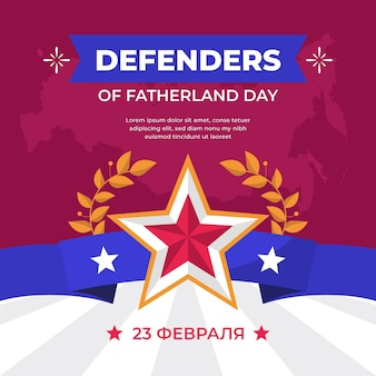 Defenders of fatherland day in flat design