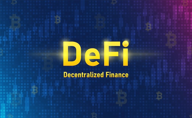 Defi crypto currency on system background futuristic concept illustration