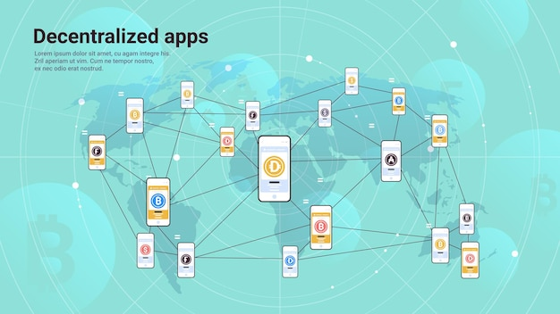 Defi decentralized apps on smartphone screens cryptocurrency and blockchain technology concept horizontal copy space vector illustration