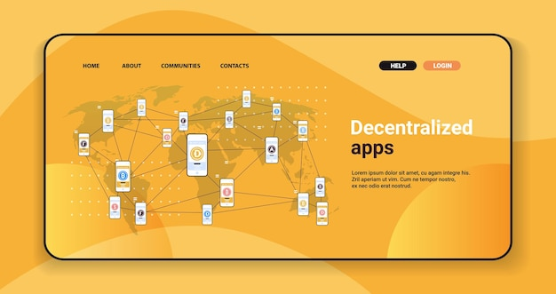 Defi decentralized apps on smartphone screens cryptocurrency and blockchain technology concept