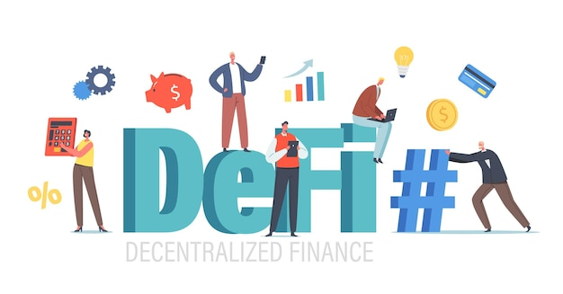 Defi, decentralized finance concept. tiny businesspeople characters with huge calculator, hashtag, piggy bank and cryptocurrency blockchain data chart statistics. cartoon people vector illustration