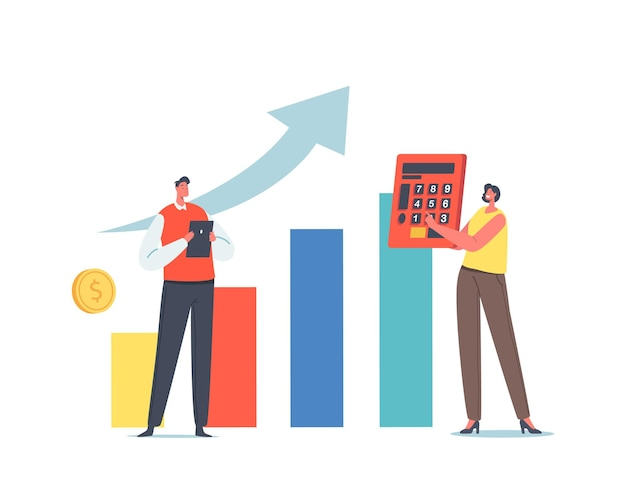 Defi, decentralized finance, investment growth concept. tiny businesspeople characters with calculator and tablet pc near huge growing data chart statistics. cartoon people vector illustration