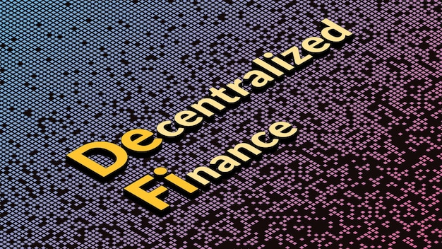 Defi - decentralized finance, isometric text on fragmented matrix background. ecosystem of financial applications and services based on public blockchains.  vector illustration.
