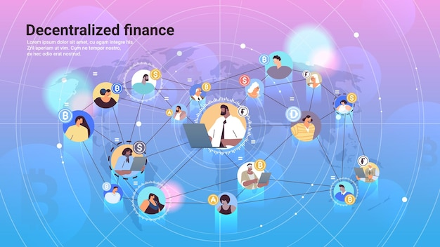 Defi decentralized finance system cryptocurrency and blockchain technology concept horizontal copy space vector illustration