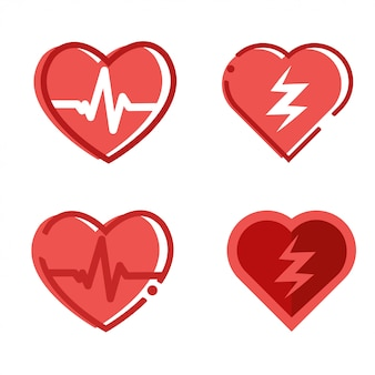 Defibrillator icons set