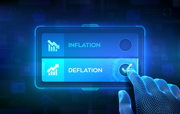 Deflation or inflation choice concept. making decision. stock or forex business and finance money. hand on virtual touch screen ticking the check mark on deflation button. vector illustration.