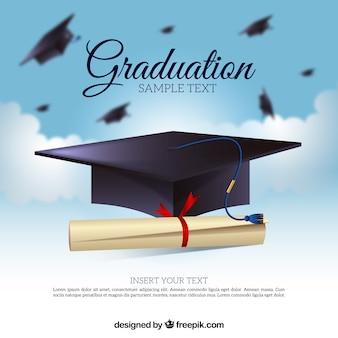 Defocused background of biretta and diploma