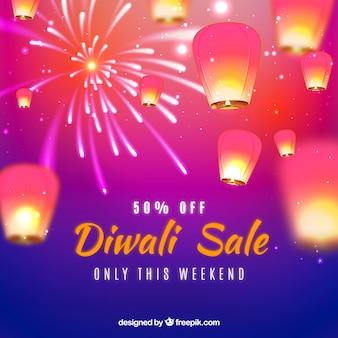 Defocused background of diwali sales