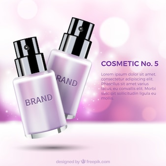 Defocused background with cosmetic products