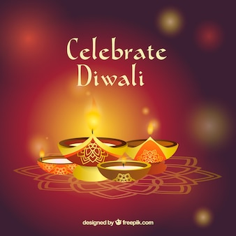 Defocused background with diwali candles
