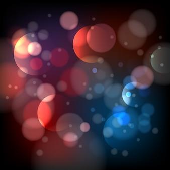 Il bokeh sfocato accende il fondo. effetto astratto sfocato luminoso, modello lucido rotondo,