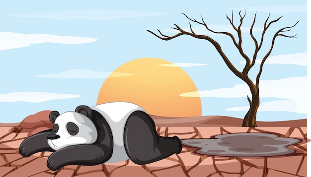 Deforestation scene with dying panda