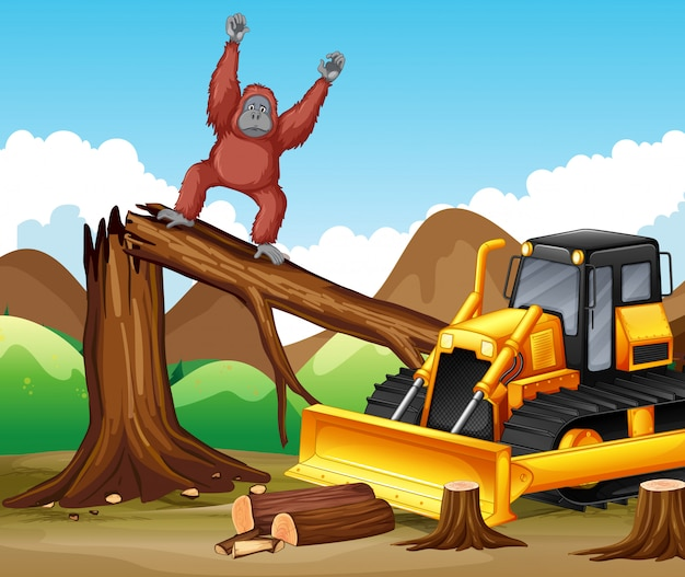 Deforestation scene with monkey and bulldozer