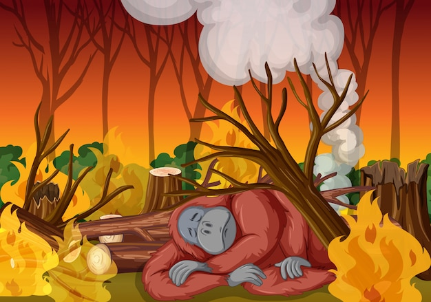 Deforestation scene with monkey and wildfire