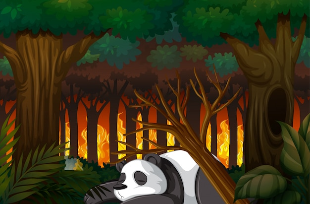 Deforestation scene with panda dying in forest
