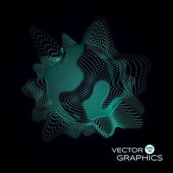 Deformed 3d sphere. cyber or biological virus. space sound waves.