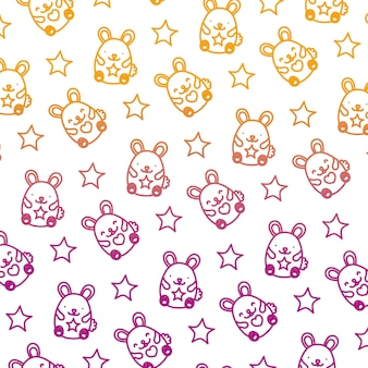Degraded line cute mice funny animals background