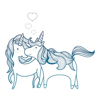 Degraded outline beauty unicorn couple together animals