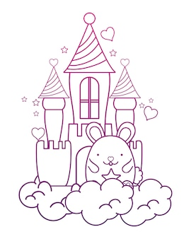 Degraded outline cute male mouse in the castle and clouds