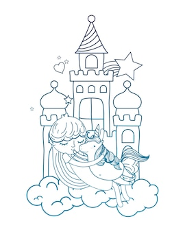 Degraded outline girl hugging cute unicorn in the castle