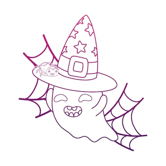 Degraded outline happy ghost with witch hat