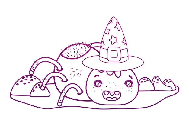Degraded outline happy spider character with witch hat