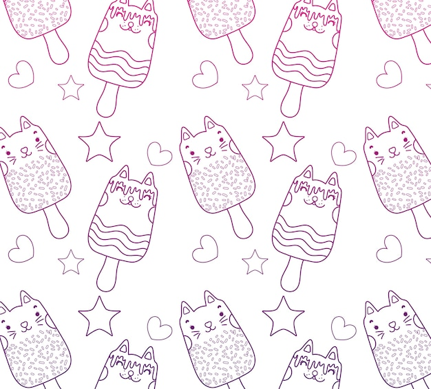 Degraded outline kawaii cats ice lollies background