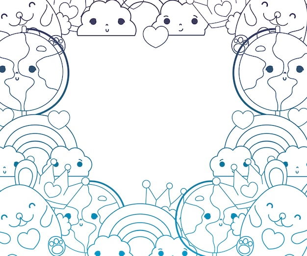 Degraded outline kawaii characters with emotion facial expression