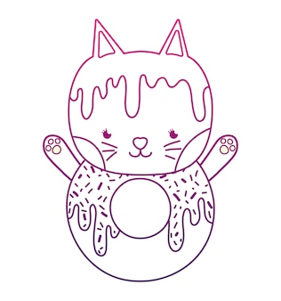 Degraded outline kawaii cute cat donut food