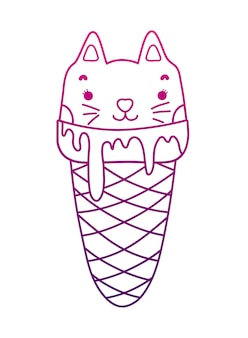 Degraded outline kawaii sweet cat ice cream
