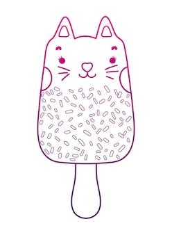 Degraded outline kawaii tasty cat ice lolly