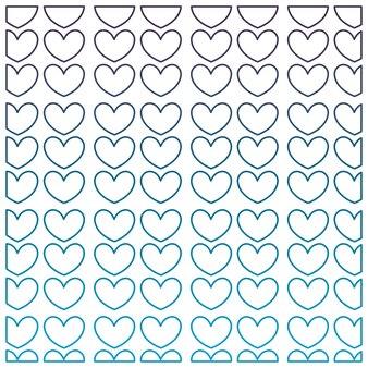 Degraded outline nice hearts shapes decoration background