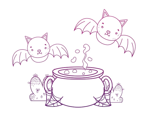 Degraded outline pot cauldron object with bats flying