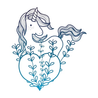 Degraded outline unicorn hairstyle with heart and branches leaves