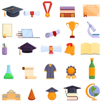 Degree icons set. cartoon set of degree  icons for web design