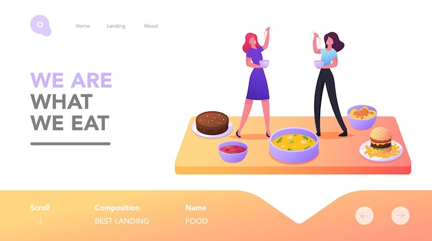 Degustation landing page template. tiny female characters tasting dishes stand on table with huge plates and bowls with tasty meals, bakery, fast food, mukbang. cartoon people vector illustration