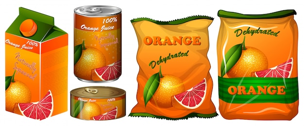 Dehydrated orange in different packaging