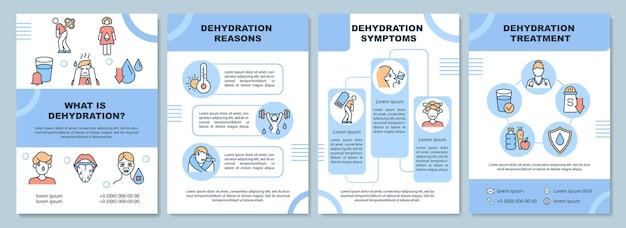 Dehydration brochure template. water loss reasons and symptoms. flyer, booklet, leaflet print, cover design with linear icons. vector layouts for presentation, annual reports, advertisement pages