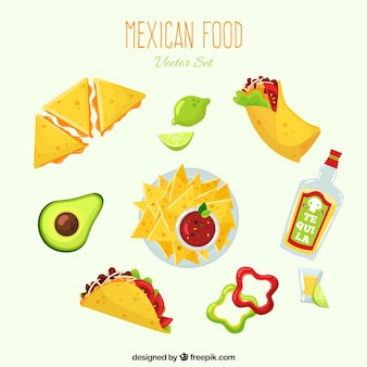 Разнообразие мексиканской еды с плоской deisgn