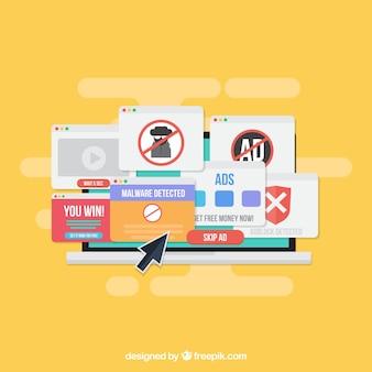 広告ブロックポップアップの概念とフラットなdeisgn