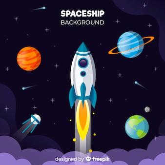 Современный фон космического корабля с плоским deisgn