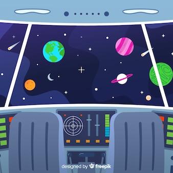 平らなdeisgnとインテリア宇宙船のデザインの背景